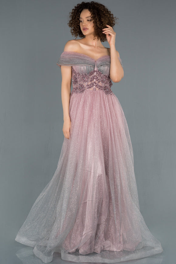 18391 Dusty Pink Off-Shoulder Shimmer Tulle Gown