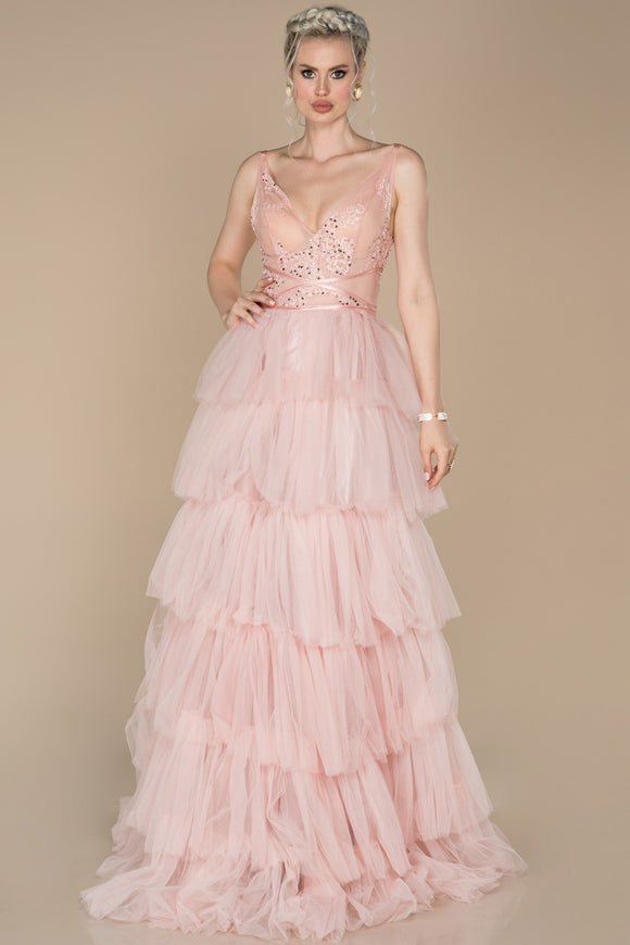 18005 Powder Pink Transparent Top Tiered Tulle Dress