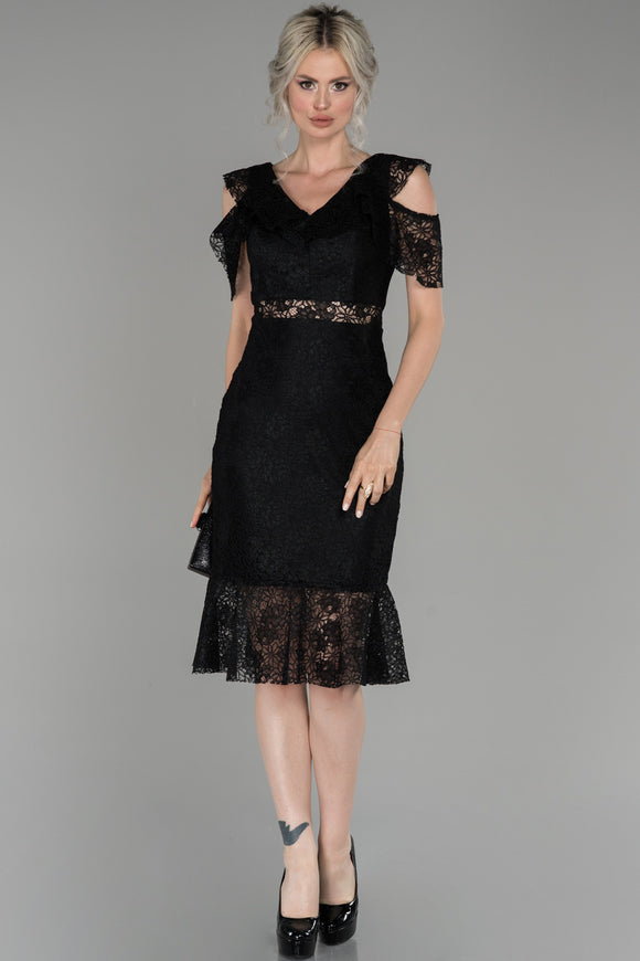 18217 Black Transparent Waist Lace Dress