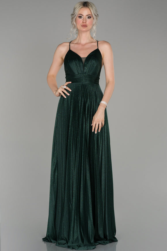 18003 Green Cross Back Shimmer Tulle Dress