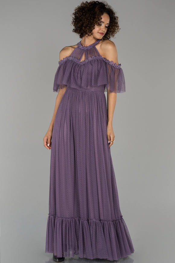 18016 Dusty Rose-Lavender Cold Shoulder Tulle Dress