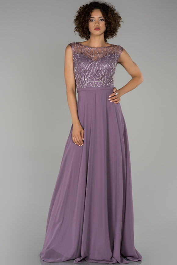 18380 Lilac Embroidered Sequin Top Chiffon Dress
