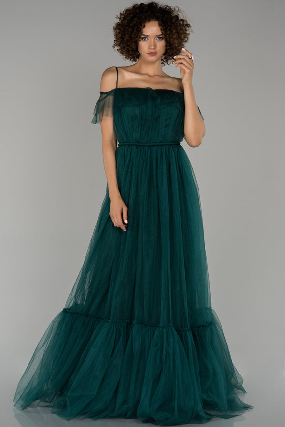 18088 Dark Jade Green Tulle Princess Dress