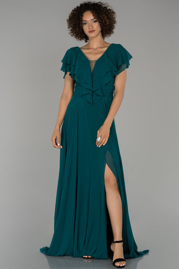 18011 Dark Pine Green Layered Collar Chiffon Slit Dress