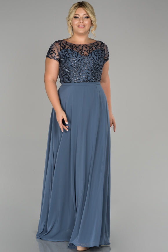 18173 Blue Stone Embroidered Tulle-Chiffon Dress