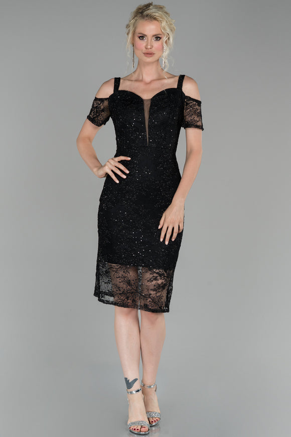 18209 Black Cold Shoulder Shimmer Lace Dress