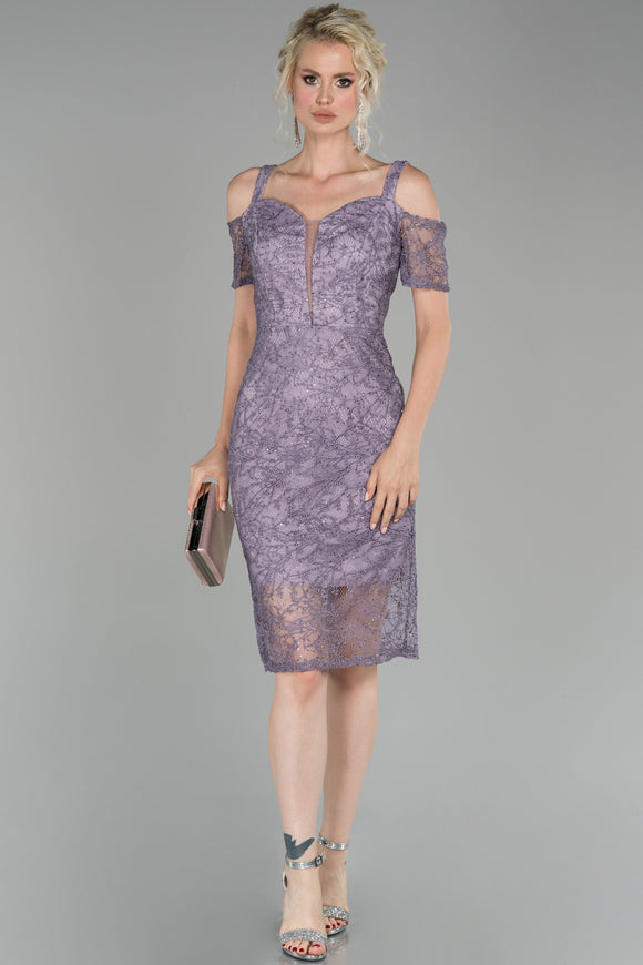 18210 Lavender Cold Shoulder Shimmer Lace Dress