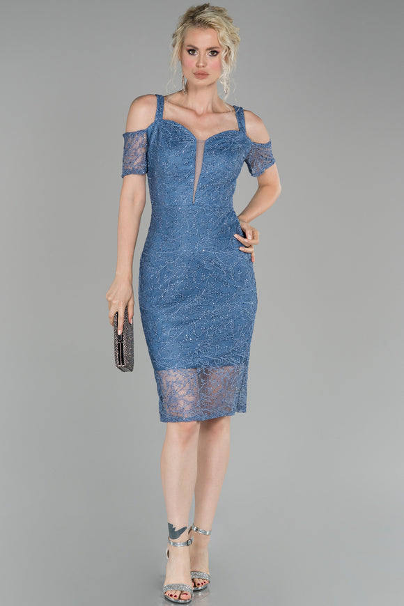 18208 Blue Cold Shoulder Shimmer Lace Dress