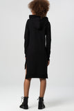 1210275 Black Hi-Low Hooded Sweater Dress