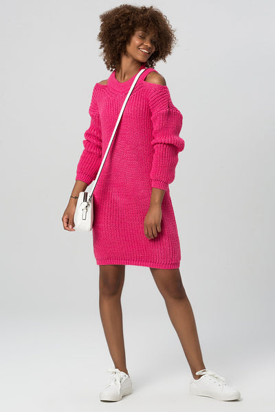 1210258 Pink Cut-Out Shoulder Knitted Dress