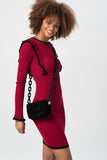 1210247 Burgundy Ruffle Sweater Dress