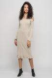 1210253 Beige Cold Shoulder Knitted Dress