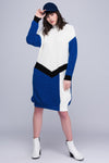 1210256 Blue-White Oversize Jersey Dress
