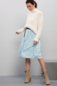 2910065 Blue Button Midi Skirt
