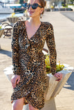 1210618 Brown Leopard Print Wrap Dress