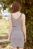 1210557 Navy Blue Striped Lace Dress