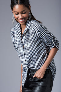 3010001 Black-White Check Cotton Shirt