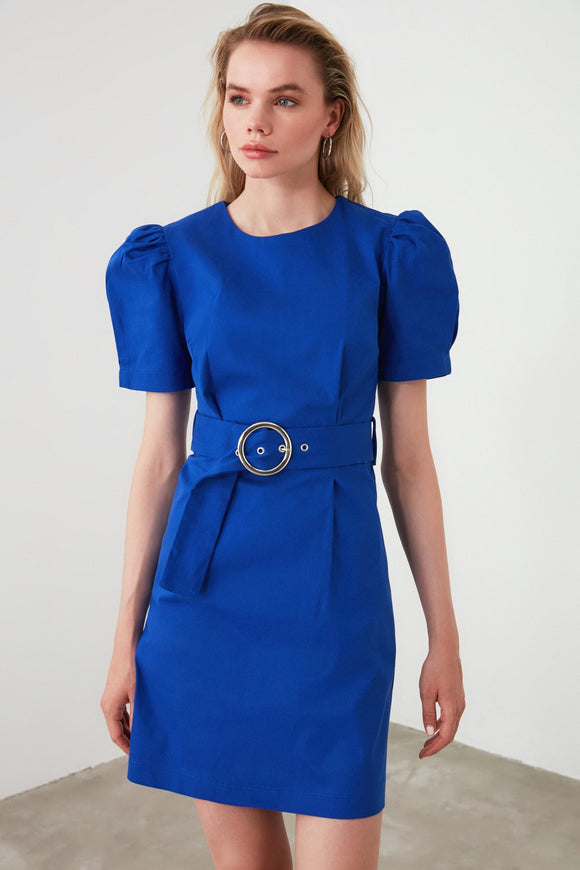 17897 Royal Blue Puff Sleeve Belted Dress