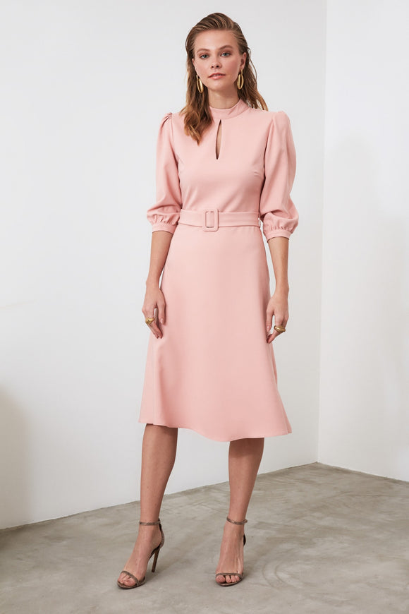 17901 Pink Keyhole Collar Belted Dress