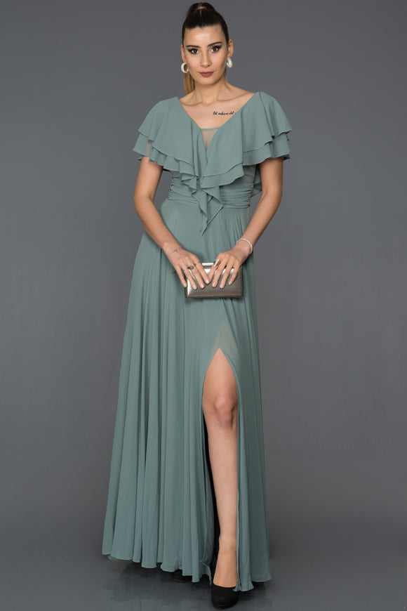 18012 Mint Green Layered Collar Chiffon Slit Dress