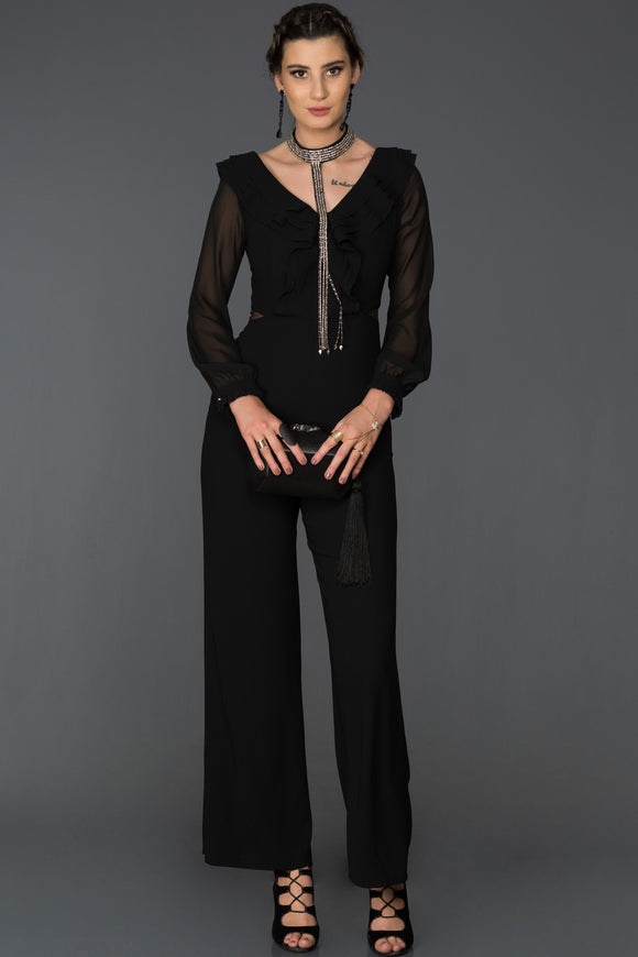 10138 Black Necklace Frill Collar Jumpsuit
