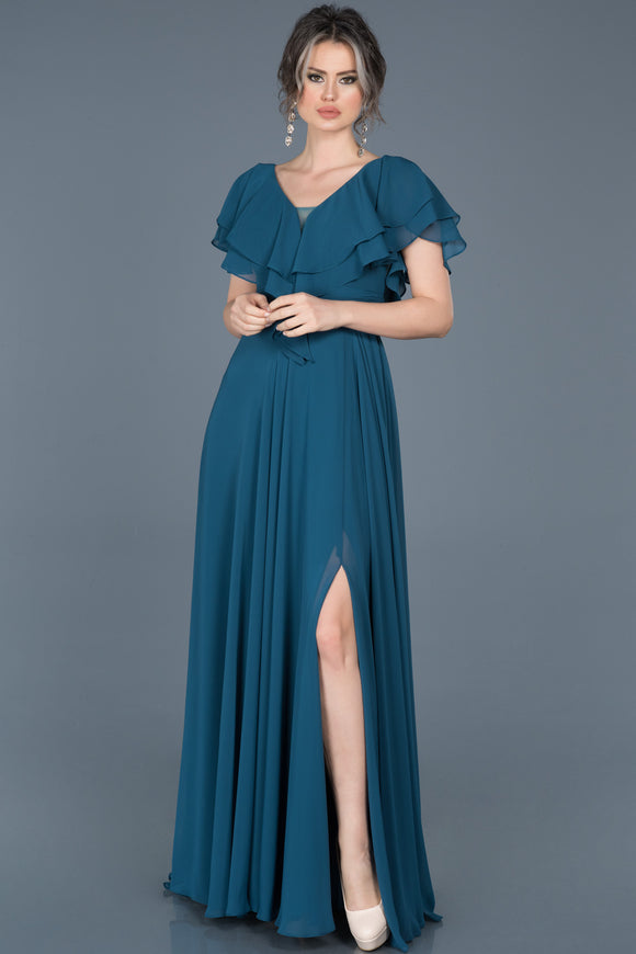 18014 Teal Green Layered Collar Chiffon Slit Dress