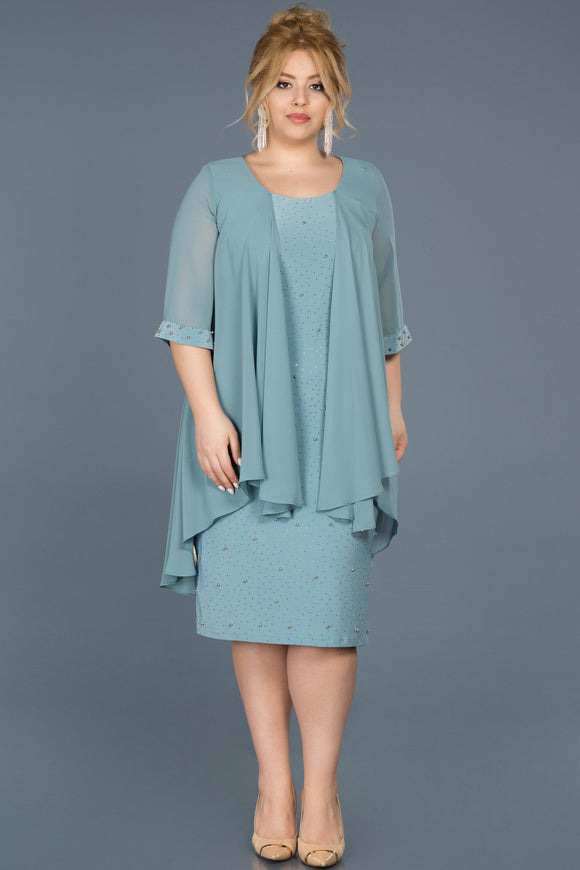 14256 blue mint stone embroidered cape dress