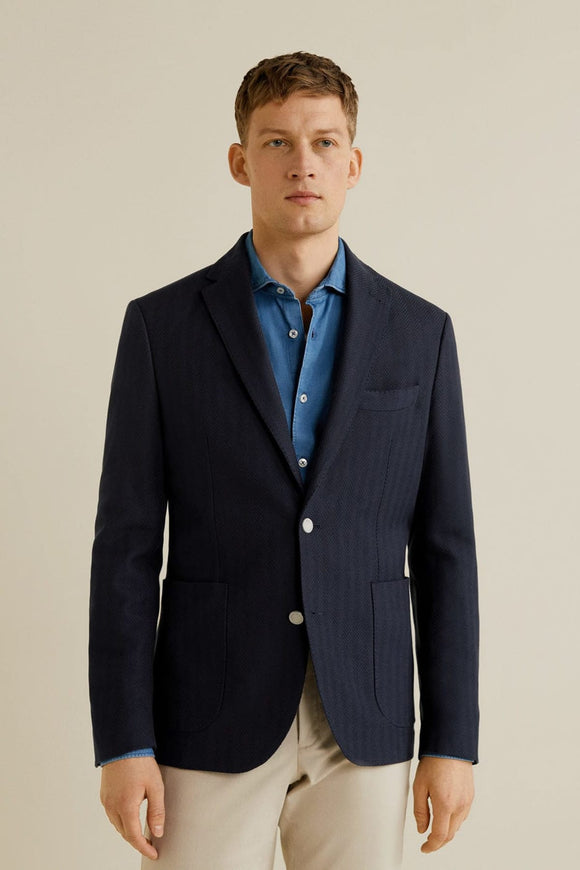 Men's Blue Slim Houndstooth Woven Blazer Jacket 43063695