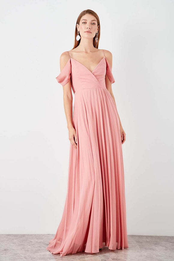 13927 Pink Off-Shoulder Pleated Dress Women Dress South Africa