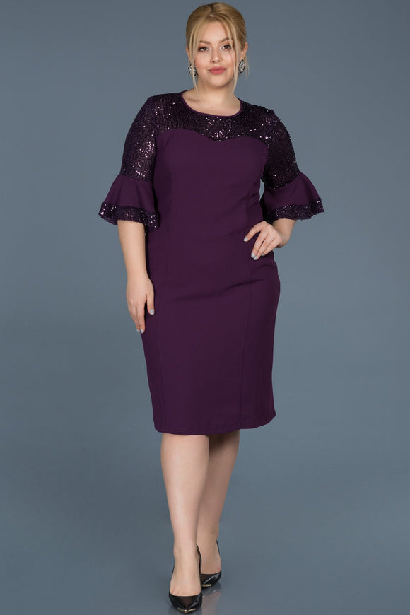 14415 purple sequin detail pencil dress