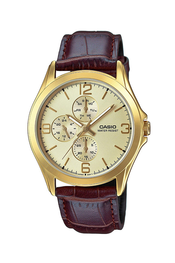 Casio Leather Strap Watch MTP-V301GL-9AUDF