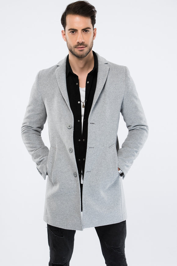2040165 Grey Button Wool Coat