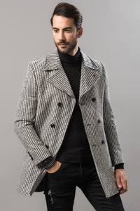 2040094 Black-White Double-Breasted Coat