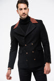 2040082 Black Double-Breasted Coat