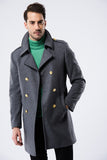 2040131 Grey Military Style Wool Coat