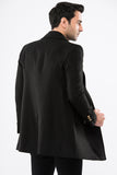 2040083 Black Double-Breasted Coat