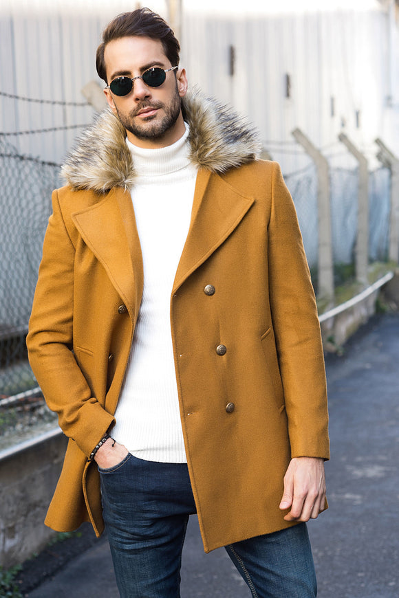 2040117 Camel Fur Collar Coat