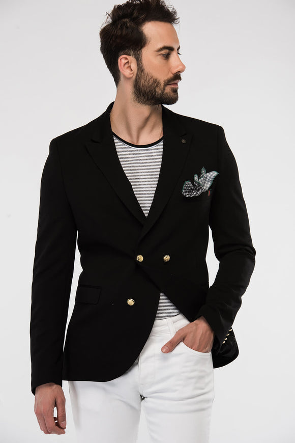2040486 Black Linen Blend Gold Button Blazer