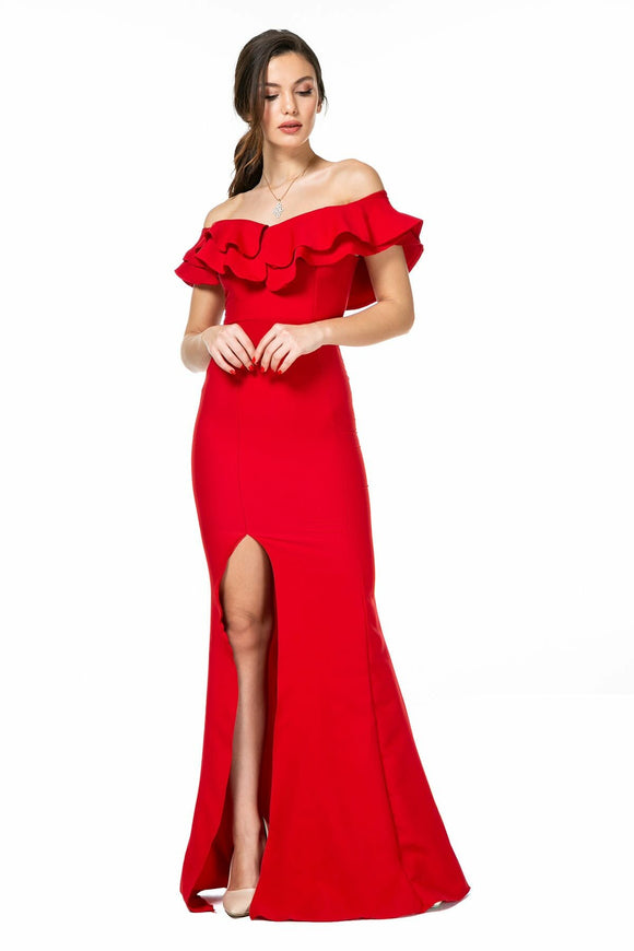 2539 Red Frill Collar Slit Dress