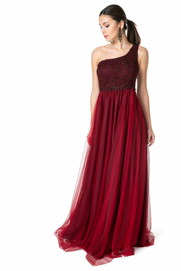 2540 Burgundy One Shoulder Sequins Tulle Dress