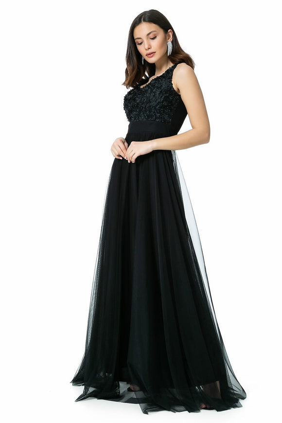 4872 Black Flower Applique Tulle Dress