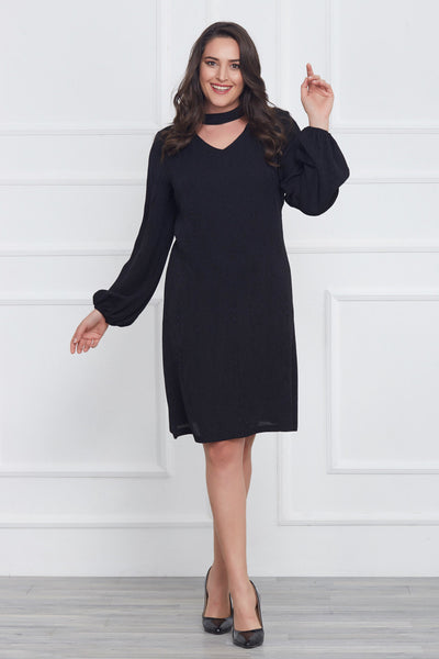 7400218 Black Choker Patterned Dress