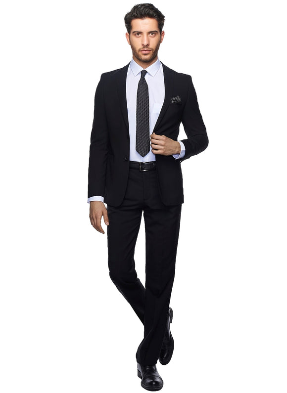 2410159 Plain Black Slim Fit Suit