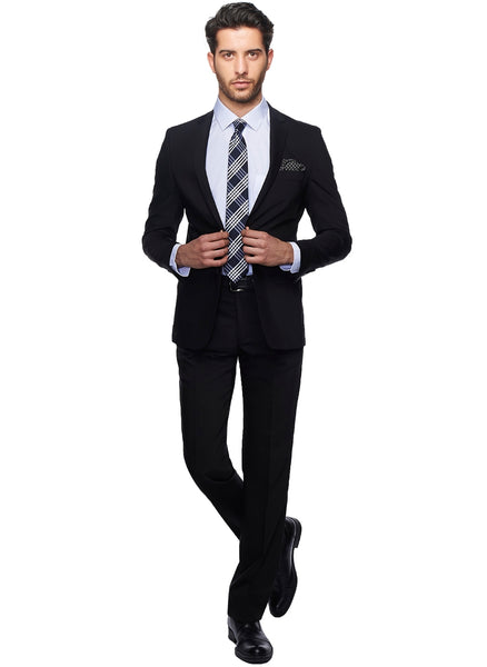 2410174 Plain Black Slim Fit Suit