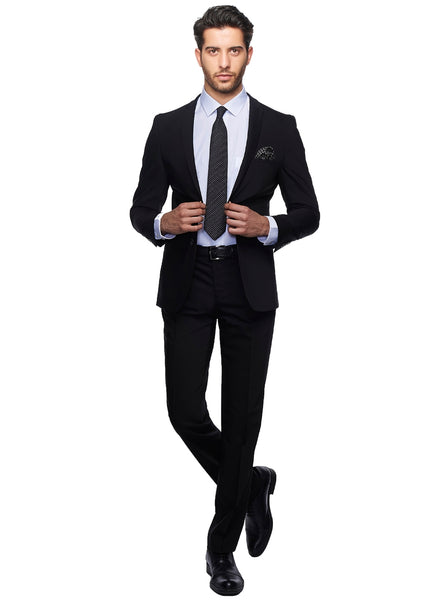 2410173 Plain Black Slim Fit Suit