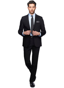 2410158 Plain Black Regular Fit Suit