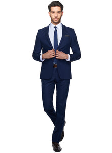 2410080 Check Navy Slim Fit Suit