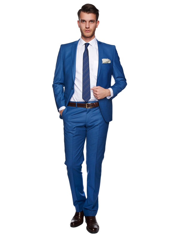 2410040 Check Blue Slim Fit Suit