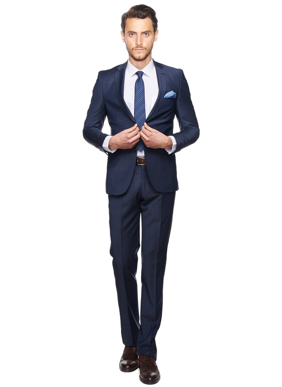 2410082 Check Navy Slim Fit Suit