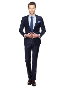 2410096 Check Navy Slim Fit Suit